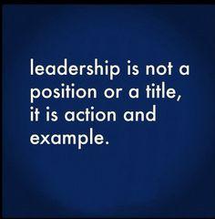 On leadership...