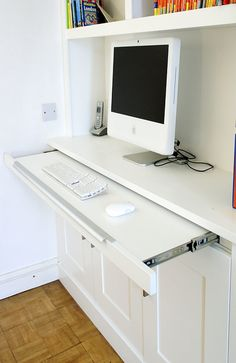 Home offices have become all the rage and we love working on fitted office furniture projects, read all about our bespoke furniture here. Home Office Closet, Home Office Space, Home Office Design, Home Office Furniture, Pipe Furniture, Furniture Design, House Design, Office Built Ins, Built In Desk