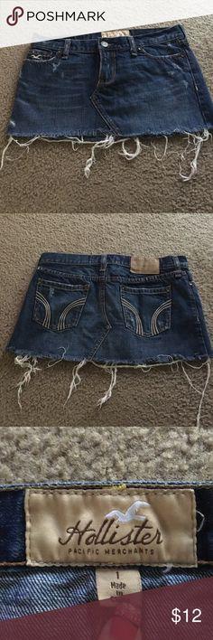 🌸FINAL PRICE🌸Distressed denim mini skirt Distressed denim mini skirt. Worn a few times. Like brand new. Hollister Skirts Mini