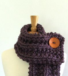 Chunky Knit Dusty Purple Cowl Scarf with Large by AMarieKnits, $39.00