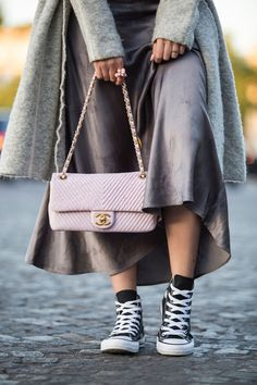 d1fe164fc88 Pink Chanel Chevron Leather bag and all-star Converse sneakers by Stella  Asteria