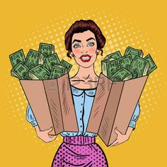 Illustration of Pop Art Happy Rich Woman Holding Bags with Money. Vector illustration vector art, clipart and stock vectors. Pop Art Drawing, Art Drawings, Drawing Ideas, Comics Vintage, Frankie Magazine, Pop Art Women, Pop Art Wallpaper, Pop Art Girl, Dibujos Cute