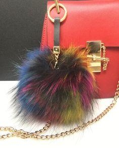 NEW Tropical Swirl Multi Color Raccoon Fur Pom Pom bag charm clover flower charm keychain piece no.353 ( 2 way pom pom)