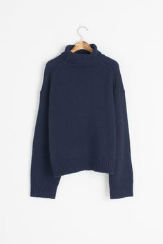 Lambs Wool Roll Neck Chunky Jumper, Navy