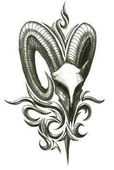 Iron Tribal Big Horn Goat Temporary Body Art Tattoos x *** Special offer just for you. Zodiac Tattoos, Body Art Tattoos, Sleeve Tattoos, Mob Tattoo, Clock Tattoo Design, Wing Tattoo Designs, Tattoo Sketches, Tattoo Drawings, Capricorn Sign Tattoo