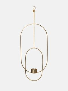 Hanging Tealight Deco - Oval - Brass