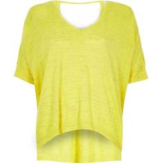 River Island Bright yellow knitted linen t-shirt (1 370 UAH) ❤ liked on Polyvore featuring tops, t-shirts, knitted tops, women, yellow, linen t shirt, short sleeve tops, linen tops, short sleeve tee and yellow v neck t shirt