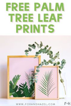Get these fresh & tropical palm tree leaf prints to get ready for summer! #foxandhazel #palmleaf #palmtree #freeprintabel #printableart #printable #tropicalleaf #wallart #homedecor #freeartprint #tropical #millennialpink #boho #jungalow
