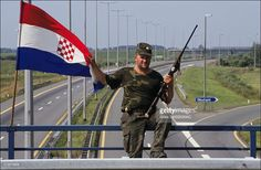 Civil War In Croatia On September1st 1991 - Croatian Guard On The Highway From Zagreb To Belgrad In Okucani On September 1st, 1991 In , Yugoslavia