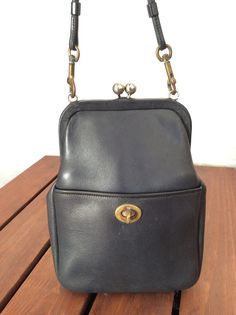 cb05b9f774f9 Great Worn Destressed Vintage Genuine Bonnie Cashin Coach Navy Blue Leather  Shoulder Bag Vintage Coach