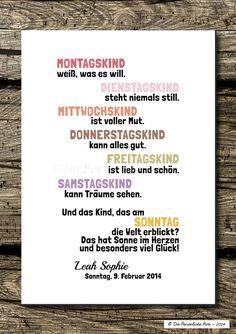 Kennt ihr den alten englischen Vers mit den Wochentagen? - Gibt's jetzt auch auf Deutsch und ist besonders schön für alle Sonntagskinder! - Druck/Wandbild: Sonntagskinder ... Glückskinder