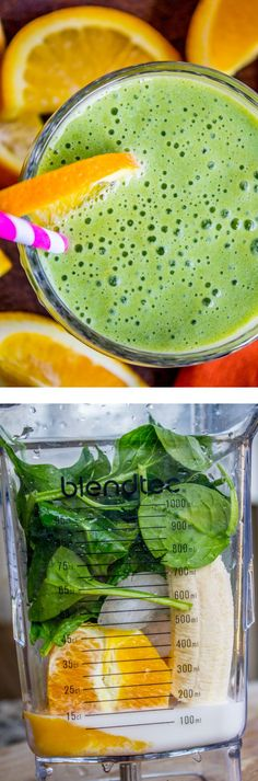 Green Orange Julius Smoothie from The Food Charlatan. This healthy smoothie is packed with frothy and creamy orange flavor! A handful of spinach makes it green and a lot better for you. Perfect breakfast for a busy morning! No sugar added and my kids still loved it.