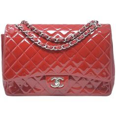 ea63e0a0f859 Chanel Maxi Double Flap Shw Patent Leather Shoulder Bag, Red Chanel Maxi,  Patent Leather