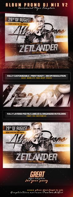 Album Promo DJ Mix v2 Horizontal Flyer Template - Concerts Events