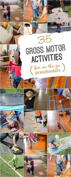 35 Gross Motor Activities for Preschoolers that Like to MOVE Time to get moving with these gross motor activities for preschoolers via /handsonaswegrow/ Physical Activities For Preschoolers, Motor Skills Activities, Outdoor Activities For Kids, Gross Motor Skills, Sensory Activities, Educational Activities, Learning Activities, Preschool Activities, Dementia Activities