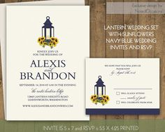 Sunflower Wedding Invitations Suite Rustic Lantern Country Wedding Invitation Set Sunflowers and Lantern Fall Summer Digital Printable DIY NotedOccasions