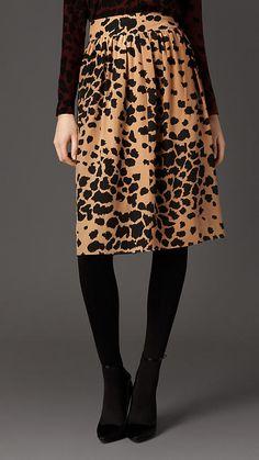 2a55d8a4d9b06 Animal Print Silk Skirt by Burberry,  695 Silk Skirt, Full Skirts,  Hourglass Shape