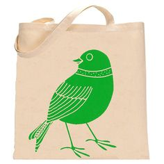 Recycled Cotton Hand Printed Tote Bag- Scandinavian Bird
