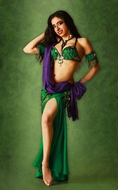 Green And Purple Costume By Bella With Silk Veil Lida Bellydance Lidabellydance