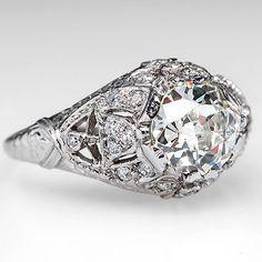 1920's Engagement Ring 1.5 Carat Old Mine Cut Diamond Platinum Antique Art Deco Jewelry