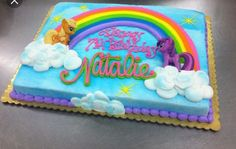 Little Pony Rainbow Sheet cake by Stephanie Dillon, Hy-Vee My Little Pony Party, Bolo My Little Pony, Birthday Sheet Cakes, Birthday Cake Girls, 4th Birthday, Birthday Ideas, Rainbow Dash Cake, Rainbow Colors, Sheet Cake Designs