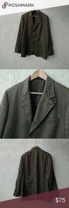 John Varvatos Linen & Silk Herringbone Sport Coat A great piece with a total Euro vibe!  Linen and silk herringbone pattern, gorgeous drape, light khaki brown color, four-button, elbow patches (same fabric as body of jacket), button tab detail near collar.  Fully lined, three interior pockets, four button detail at cuffs.  Marked Euro size 50 regular, which is a US size 40.  A fantastic piece! John Varvatos Suits & Blazers Sport Coats & Blazers