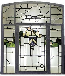 STAINED AND CLEAR GLASS PANEL