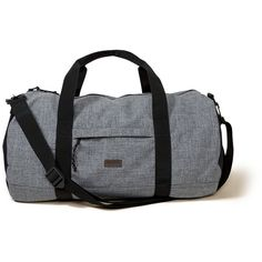 Hollister Printed Duffle Bag (955 MXN) ❤ liked on Polyvore featuring men's fashion, men's bags, grey and men's duffel bags