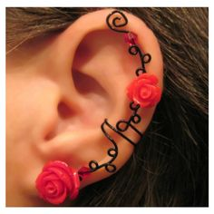 "Non Pierced Ear Cuff ""Briar Rose"" Cartilage Conch Cuff Black Wire Prom... ($12) ❤ liked on Polyvore"