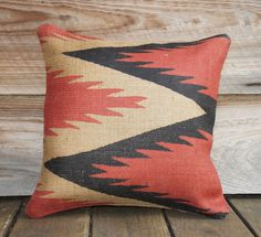 Fiery couch pillow, drawing on Mexican patterns.