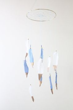 Blue and White DOUBLE THE FEATHERS Dreamcatcher Mobile Gold Dipped Brown Boho Bohemian Baby Tribal Nursery Boy Feathers