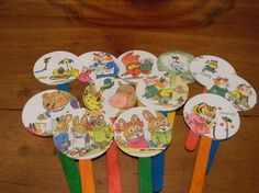 cupcake toppers - using colored Popsicle sticks