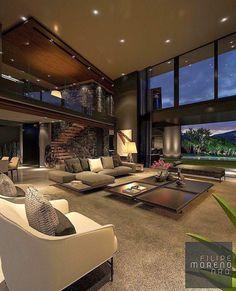 Modern Home Design, Dream Home Design, Home Interior Design, Modern Homes, House Design, Room Interior, Design Design, Villa Design, Loft Design