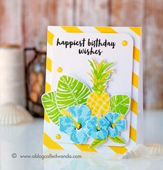 Papertrey Ink Tropics and Some Like It Hot stamp sets. Color Throwdown blog, CTD405. Card by Wanda Guess