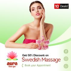 Hurry Up - 50% OFF on Swedish Massage #Reduce the symptoms of #anxiety and #depression with #BodySpa, #Scrub with #discount #offer Only at #Aura #Thai #Spa & #Salon.