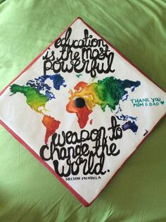 Awesome Graduation Cap Decoration Ideas World Map Graduation Awesome Graduation Cap Ideas. Teacher Graduation Cap, College Graduation Parties, Graduation Cap Designs, Graduation Cap Decoration, Graduation Quotes, Graduation Pictures, Graduation Celebration, Graduation Gifts, Abi Motto