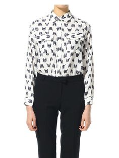 A blouse covered with french bulldog puppies? Yes please. $65
