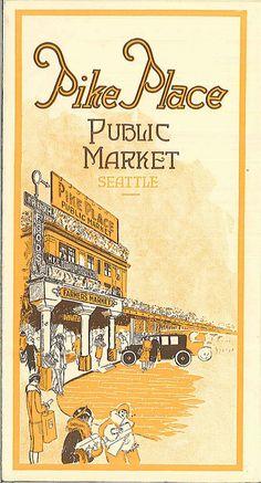 Pike Place Market pamphlet, circa Soooo want to go here. Seattle Washington, Washington State, State Of Oregon, Wa State, Vashon Island, Evergreen State, Pike Place Market, Emerald City, Before Us
