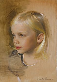 """Lilah"" Brown - Ronald N. Sherr, oil on panel, 2004 {contemporary figurative artist female head cute blonde young girl face portrait painting} Innocence !!"