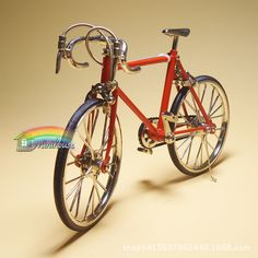 1:12 red bicycle model miniature DIY model dollhouse accessories #Unbranded