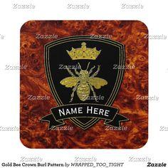Gold Bee Crown Burl Pattern Coaster