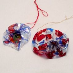 Color a clear plastic cup with sharpie markers and shrink it to make an interesting and colorful ornament