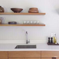 Semihandmade floating shelves, Scandivanian kitchen