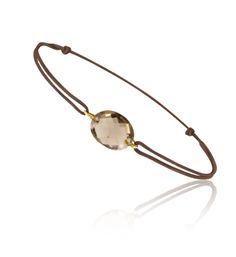 Bracelet coulissant Or jaune 750/1000 et quartz fumé taille ovale