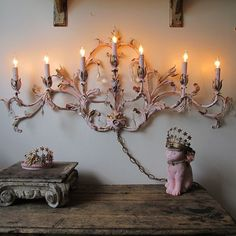 Pink and gold distressed electric Candelabra by AnitaSperoDesign