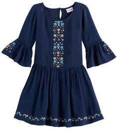 Nannette Girls 4-6x Embroidered Bell Sleeved Dress