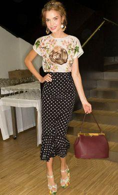 Black Polka Dot Fishtail Skirt
