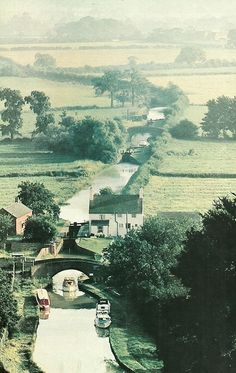 Oxford Canal browses through farmland near Napton on the Hill, England (National Geographic | July 1974) (near Coventry)