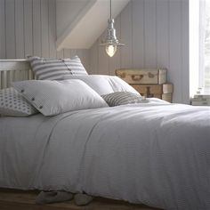 Clean stripy bed linen