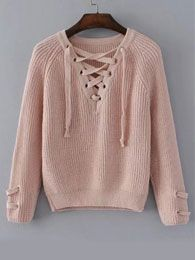 Shop Lace Up V Neckline Raglan Sleeve Sweater online. SheIn offers Lace Up V Neckline Raglan Sleeve Sweater & more to fit your fashionable needs. Girls Fashion Clothes, Teen Fashion Outfits, Outfits For Teens, Fall Outfits, Clothes For Women, Comfy Fall Sweaters, Cute Sweaters, Pullover Designs, Cute Comfy Outfits
